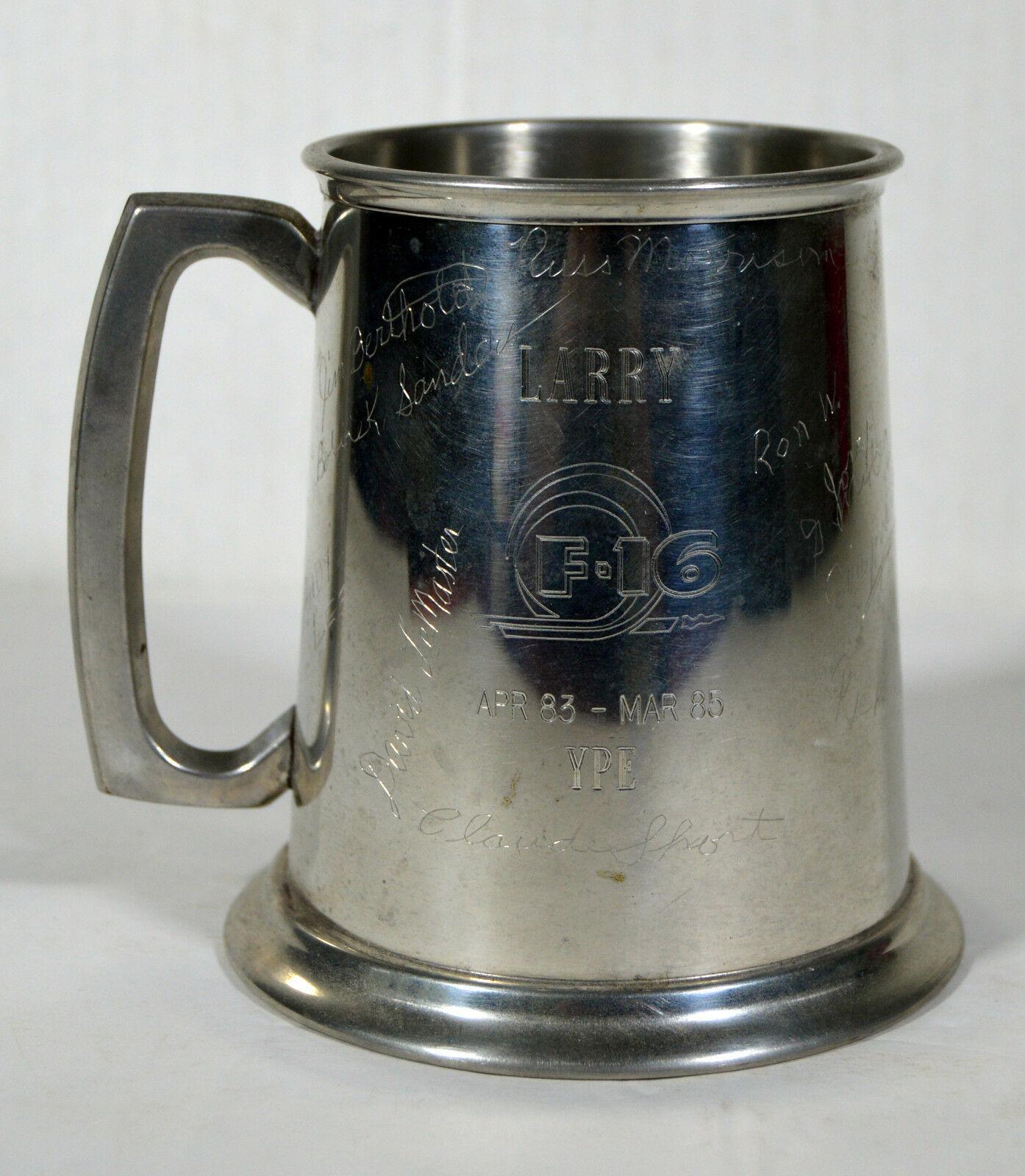 Vintage 1985 General Dynamics Fighting Falcon F16 Signed Commemorative Mug