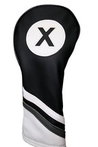 Majek Golf Headcover Black and White Leather Style #X Fairway Wood Head ... - $13.74