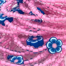 Royal Blue Flower Beaded Stretch Bracelets Lot of 38 Kid Size USA Handmade - $43.99