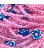 Royal Blue Flower Beaded Stretch Bracelets Lot of 38 Kid Size USA Handmade - $43.99