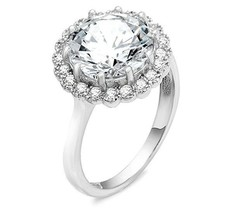 ZirconZ Sterling Silver Round Cut CZ Bubbles Halo Engagement Ring 4.00 Carat - $49.99
