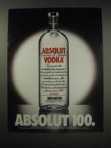 1990 Absolut Vodka Ad - Absolut 100 - $14.99