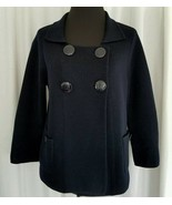 J Crew Navy Blue Wool Sweater Double Buttons Long Sleeve Square Neck Pea... - $48.51