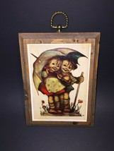 2 VTG Hummel Goebel German Wood Plaques Boy Girl Umbrella, Children Sing... - $32.99