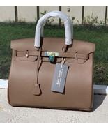 35cm Taupe Brown Pebbled Italian Leather Birkin Style Lock+ Key Satchel ... - $169.95
