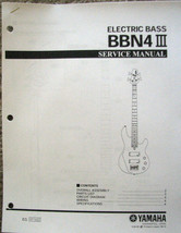 Yamaha BBN4 III Bass Guitar Service Manual and Parts List Booklet - $9.89