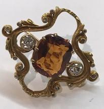 FINE ANTIQUE Edwardian Large Madeira Citrine and Diamond 22K Yellow Gold... - $767.25