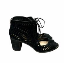 Vince Camuto Tarita Laser Cut Peep Toe Back Zip Heels Sandals Size 10 - $45.99