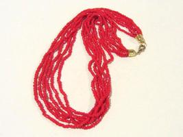 Vintage Jewelry 6 Strand Red Glass beads Necklace 25'' Length - $18.00