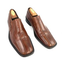 Men's ALFANI Pablo Brown Leather Bicycle Toe Slip On Loafers Size 8 Med - $19.79
