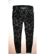 New Womens 24 Black 7 for all mankind Jeans Pants USA Floral Flocked Ski... - $79.20
