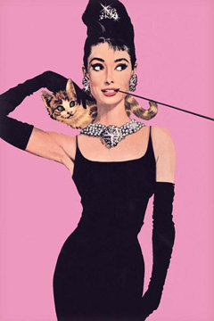 Breakfast at Tiffany's Poster 24x36 in Audrey Hepburn Holly Golightly Cat Pink