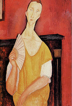 Modigliani Art Print Poster 16x24 in Woman with Fan Skyfall Portrait of Luna Cze image 1