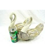 Swans Reed Wood Figurines White Set of 2 Birds Water Fowl Vintage - $39.59