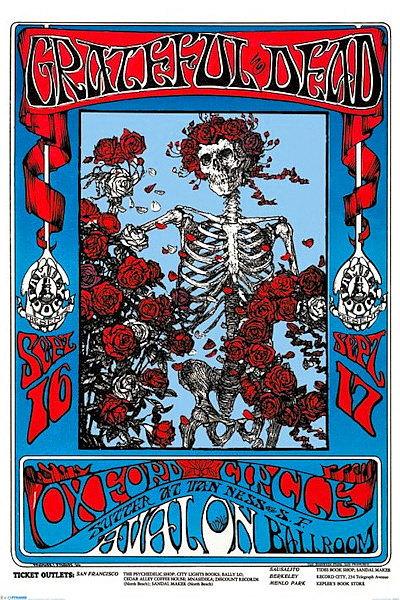 Grateful Dead Poster 24x36 Skeleton Roses Avalon Ballroom Omar Khayyam Rubaiyat