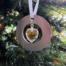 Small Aluminum and Crystal Circle Ornament - Disc image 5