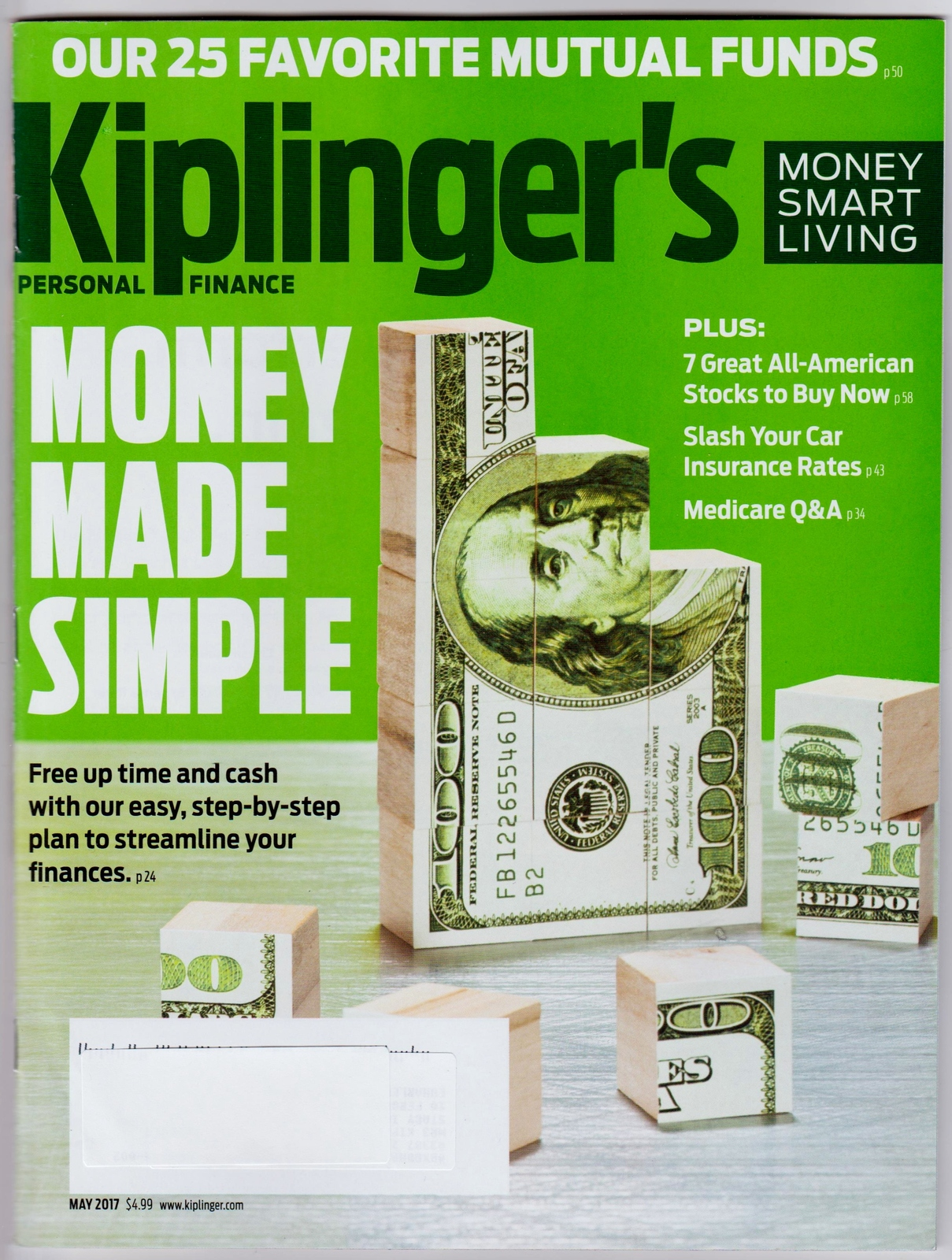 Primary image for Kiplinger's Personal Finance May 2017 NEW Streamline Your Finances, Simple Money