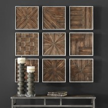 Set 9 Dimensional Wood Wall Collage Rustic 13 sq Plaques Panel Farmhouse New - $327.80
