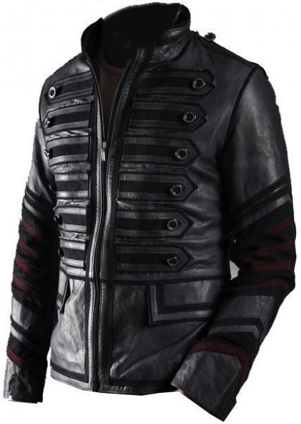 NWT Black Military Men Fashion Stylish Sexy Premium Genuine Real Leather Jacket