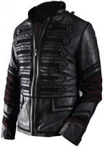 NWT Black Military Men Fashion Stylish Sexy Premium Genuine Real Leather Jacket image 1