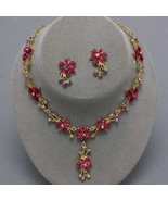 Austrian Crystal Fuchsia AB Evening Necklace Set Sophia Maria Jewelry Pr... - $19.79