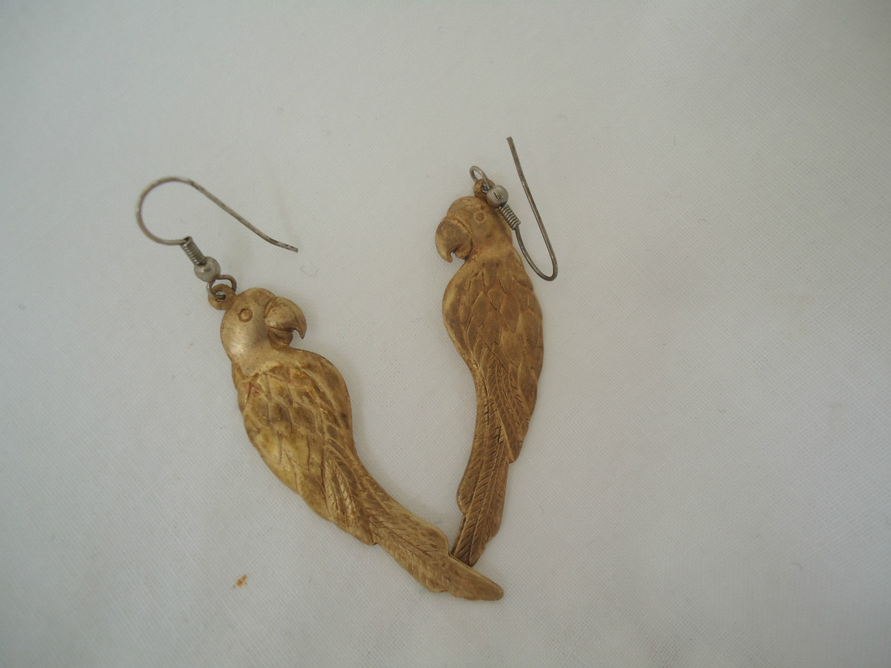 Primary image for Brass Parrot Dangle EARRINGS 2.25""