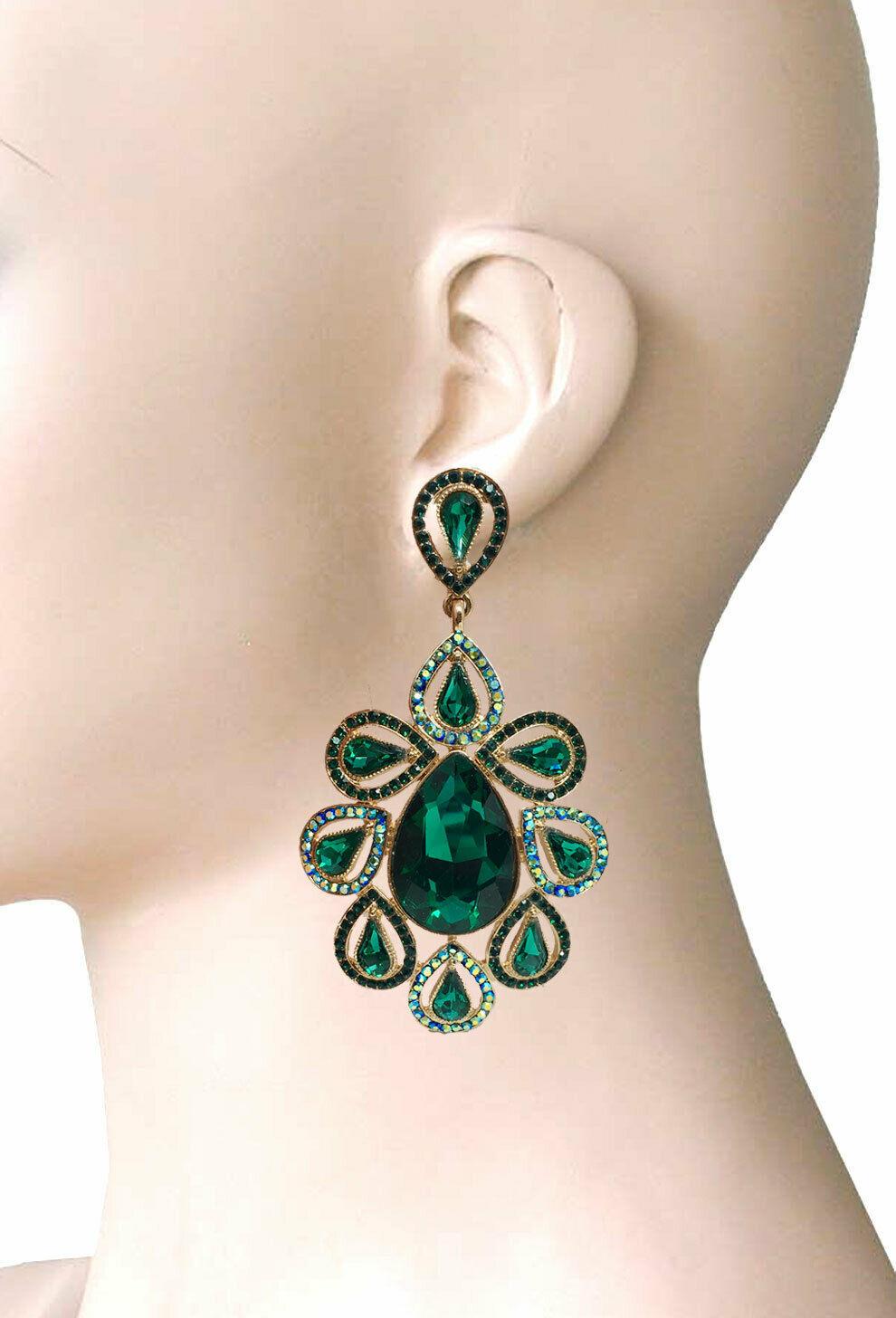 "3.75"" Long Oversize Green Crystal AB Rhinestone Clip On Earrings Costume Jewelry - $20.64"