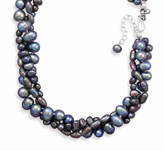 Sterling Silver Multistrand Grey Cultured Freshwater Pearl Necklace - $79.99