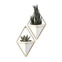 Modern Hanging Planter Vase Geometric Wall Decor Container Ceramic Set of 2 - $39.74
