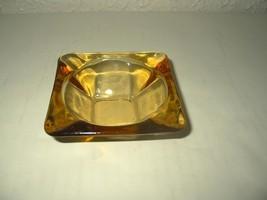 Vintage Amber Gold Ashtray Square Cigarette holder small size EUC - $14.44