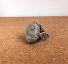 Men stone ring, Silver  , Vintage Botswana agate stone, handmade ring me... - $83.00