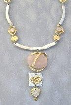 Pink Semi-Precious Stone Necklace Unique Silver Gold Gemstone Handcrafted  - $375.00