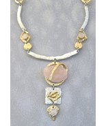 Pink Semi-Precious Stone Necklace Unique Silver... - $375.00