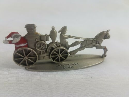 Hallmark Lot of 3 Pewter Steam Fire Engine U.S. Mail Wagon Open Topped Surrey image 4