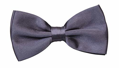 Men's Bow Tie Adjustable Neck Band Necktie Bowties Weeding Patry Dark Grey