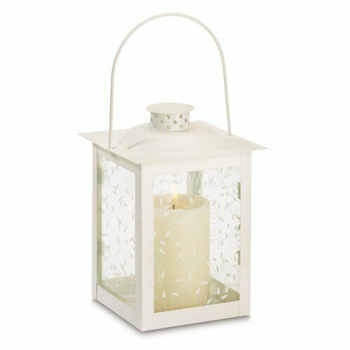 Curling Vine Large Ivory Metal Glass Candle Lantern