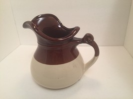 McCoy Water Pitcher Pottery Brown/Beige Mint Vintage - $17.82