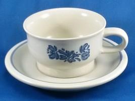 Pfaltzgraff Yorktowne Cup and Saucer Set 8 oz Off White Speckled Stoneware Blue - $9.90