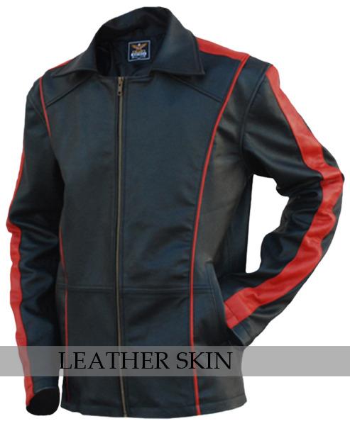 Black w/ Red Stripes Panels Fashion Stylish Premium Genuine Real Leather Jacket