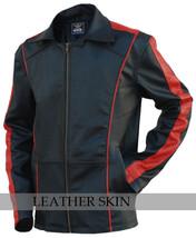 Black w/ Red Stripes Panels Fashion Stylish Premium Genuine Real Leather Jacket image 1