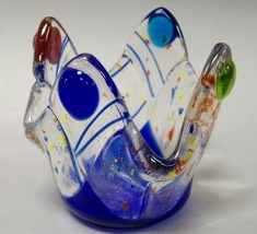 Mardi Gras Fused Glass Candle Cup Tea Light Paper Clip Sugar Holder Trin... - $27.00