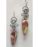 Twist Earrings Copper Silver Purple Mosaic Polymer Handmade Artisan Hook... - $50.00
