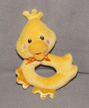 Fisher Price Plush Stuffed Duck Chick Ring Rattle 2012 Yellow Baby Toy - $23.04