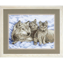"""Dimensions Stamped Cross Stitch Kit 16""""X12""""-Mother Wolf & Pups - $19.88"""