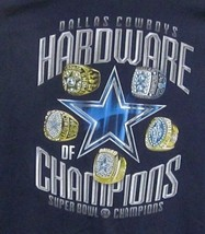 DALLAS COWBOYS MEN'S (L) S/S GRAPHIC-TEE 5X SUPERBOWL HARDWARE OF CHAMPI... - $8.07