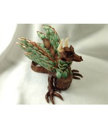 Sculpture Dragon Fantasy Forest Wyvern Hand Crafted Polymer Clay Mixed M... - $145.00