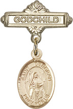 14K Gold Baby Badge with St. Deborah Charm and Godchild Badge Pin 1 X 5/8 inch - $446.25
