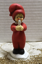 Vintage Christmas Figurine Boy With Candle Made in Norway Red PJ's Unique - $13.00