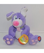 Nuby Hugs and Tickles Purple Dog Baby Soft Toy Giggles Plush Stuffed Sou... - $24.74