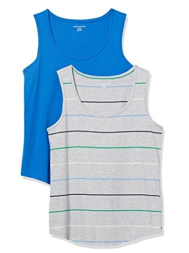 Amazon Essentials Women's 2-Pack Classic-Fit 100% Cotton Sleeveless Tank, Medium